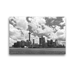 Premium Textil-Leinwand 45 x 30 cm Quer-Format Shanghai Skyline | Wandbild, HD-Bild auf Keilrahmen, Fertigbild auf hochwertigem Vlies, Leinwanddruck von Ralf Wittstock
