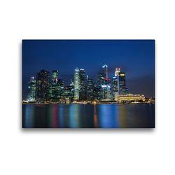 Premium Textil-Leinwand 45 x 30 cm Quer-Format Singapur Skyline bei Nacht   Wandbild, HD-Bild auf Keilrahmen, Fertigbild auf hochwertigem Vlies, Leinwanddruck von Ralf Wittstock