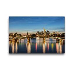 Premium Textil-Leinwand 45 x 30 cm Quer-Format Skyline Frankfurt und Ignatz-Bubis-Brücke | Wandbild, HD-Bild auf Keilrahmen, Fertigbild auf hochwertigem Vlies, Leinwanddruck von Michael Valjak