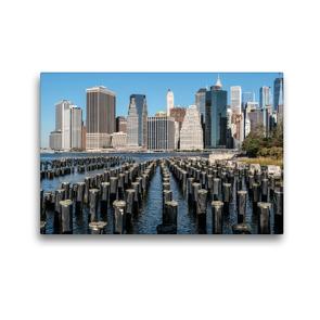 Premium Textil-Leinwand 45 x 30 cm Quer-Format Skyline von Manhattan am Ufer des Hudson | Wandbild, HD-Bild auf Keilrahmen, Fertigbild auf hochwertigem Vlies, Leinwanddruck von Michael Ermel
