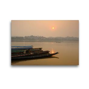 Premium Textil-Leinwand 45 x 30 cm Quer-Format Sonnenaufgang am Mekong Fluss | Wandbild, HD-Bild auf Keilrahmen, Fertigbild auf hochwertigem Vlies, Leinwanddruck von Christian Heeb