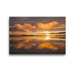 Premium Textil-Leinwand 45 x 30 cm Quer-Format Sonnenuntergang am Plage de Kerhillio   Wandbild, HD-Bild auf Keilrahmen, Fertigbild auf hochwertigem Vlies, Leinwanddruck von Etienne Benoît