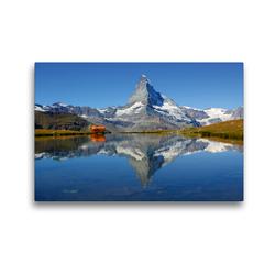 Premium Textil-Leinwand 45 x 30 cm Quer-Format Spieglein, Spieglein….Das doppelte Matterhorn | Wandbild, HD-Bild auf Keilrahmen, Fertigbild auf hochwertigem Vlies, Leinwanddruck von Susan Michel