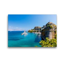 Premium Textil-Leinwand 45 x 30 cm Quer-Format Stadthafen auf Korfu | Wandbild, HD-Bild auf Keilrahmen, Fertigbild auf hochwertigem Vlies, Leinwanddruck von Janita Webeler