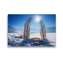 Premium Textil-Leinwand 45 x 30 cm Quer-Format Stille Rast mit Aussicht auf die Winterlandschaft Schliersee Oberbayern   Wandbild, HD-Bild auf Keilrahmen, Fertigbild auf hochwertigem Vlies, Leinwanddruck von SusaZoom