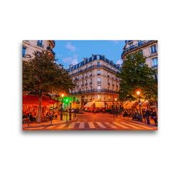 Premium Textil-Leinwand 45 x 30 cm Quer-Format Straßenkreuzung auf der Ile Saint Louis in Paris bei Nacht | Wandbild, HD-Bild auf Keilrahmen, Fertigbild auf hochwertigem Vlies, Leinwanddruck von Christian Müller