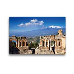 Premium Textil-Leinwand 45 x 30 cm Quer-Format Taormina – Griechisches Theater mit Ätnablick   Wandbild, HD-Bild auf Keilrahmen, Fertigbild auf hochwertigem Vlies, Leinwanddruck von Juergen Schonnop