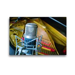 Premium Textil-Leinwand 45 x 30 cm Quer-Format Tonstudio – Mikrofon vor Konzertflügel | Wandbild, HD-Bild auf Keilrahmen, Fertigbild auf hochwertigem Vlies, Leinwanddruck von Renate Bleicher