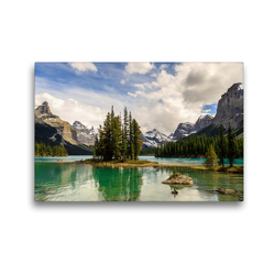 Premium Textil-Leinwand 45 x 30 cm Quer-Format Traumziel Spirit Island, Maligne Lake | Wandbild, HD-Bild auf Keilrahmen, Fertigbild auf hochwertigem Vlies, Leinwanddruck von Adrian Geering