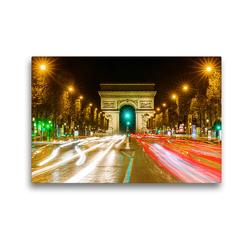 Premium Textil-Leinwand 45 x 30 cm Quer-Format Triumphbogen in Paris bei Nacht | Wandbild, HD-Bild auf Keilrahmen, Fertigbild auf hochwertigem Vlies, Leinwanddruck von Christian Müller