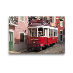 Premium Textil-Leinwand 45 x 30 cm Quer-Format Typische Rote Straßenbahn vor bunten Fassaden in Lissabon, Portugal | Wandbild, HD-Bild auf Keilrahmen, Fertigbild auf hochwertigem Vlies, Leinwanddruck von Marion Meyer © Stimmungsbilder1