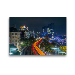 Premium Textil-Leinwand 45 x 30 cm Quer-Format U-Bahn, Hamburg | Wandbild, HD-Bild auf Keilrahmen, Fertigbild auf hochwertigem Vlies, Leinwanddruck von Tom van Dutch