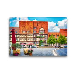 Premium Textil-Leinwand 45 x 30 cm Quer-Format Vor dem Mathildenbrunnen in der Neustadt in Quedlinburg, die vor den Mauern der Altstadt um 1200 entstand. | Wandbild, HD-Bild auf Keilrahmen, Fertigbild auf hochwertigem Vlies, Leinwanddruck von Ulrich Männel studio-fifty-five