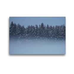 Premium Textil-Leinwand 45 x 30 cm Quer-Format Wald im Nebel   Wandbild, HD-Bild auf Keilrahmen, Fertigbild auf hochwertigem Vlies, Leinwanddruck von kattobello