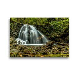 Premium Textil-Leinwand 45 x 30 cm Quer-Format Wasserfall bei Oberstdorf | Wandbild, HD-Bild auf Keilrahmen, Fertigbild auf hochwertigem Vlies, Leinwanddruck von Michael Wenk