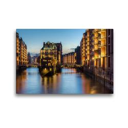 Premium Textil-Leinwand 45 x 30 cm Quer-Format Wasserschloss Hamburg | Wandbild, HD-Bild auf Keilrahmen, Fertigbild auf hochwertigem Vlies, Leinwanddruck von Michael Valjak