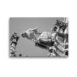 Premium Textil-Leinwand 45 x 30 cm Quer-Format Wasserspeier Stier auf dem Ulmer Münster | Wandbild, HD-Bild auf Keilrahmen, Fertigbild auf hochwertigem Vlies, Leinwanddruck von kattobello