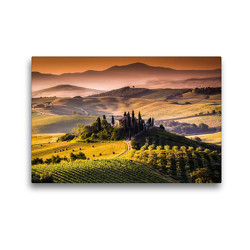 Premium Textil-Leinwand 45 x 30 cm Quer-Format Weinanbaugebiet und Landschaft in der Toskana | Wandbild, HD-Bild auf Keilrahmen, Fertigbild auf hochwertigem Vlies, Leinwanddruck von Elisabeth Stanzer