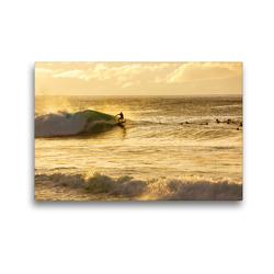Premium Textil-Leinwand 45 x 30 cm Quer-Format Wellenreiter an der North Shore von Oahu bei Sonennuntergang | Wandbild, HD-Bild auf Keilrahmen, Fertigbild auf hochwertigem Vlies, Leinwanddruck von Christian Müller
