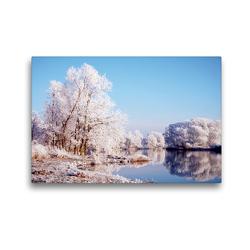 Premium Textil-Leinwand 45 x 30 cm Quer-Format Winterlandschaft an der Havel. Landschaft im Havelland. | Wandbild, HD-Bild auf Keilrahmen, Fertigbild auf hochwertigem Vlies, Leinwanddruck von Anja Frost