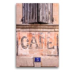 Premium Textil-Leinwand 50 x 75 cm Hoch-Format Cafe im Dorf Bonnieux, Luberon, Provence, Frankreich   Wandbild, HD-Bild auf Keilrahmen, Fertigbild auf hochwertigem Vlies, Leinwanddruck von Christian Müringer