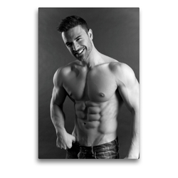 Premium Textil-Leinwand 50 x 75 cm Hoch-Format Aber hallo! Sportlicher junger Mann mit muskulösem Oberkörper | Wandbild, HD-Bild auf Keilrahmen, Fertigbild auf hochwertigem Vlies, Leinwanddruck von CALVENDO