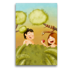 Premium Textil-Leinwand 50 x 75 cm Hoch-Format Adam und Eva im Garten Eden | Wandbild, HD-Bild auf Keilrahmen, Fertigbild auf hochwertigem Vlies, Leinwanddruck von Stephanie Langowski