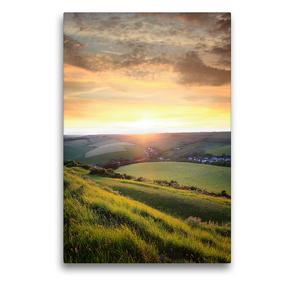 Premium Textil-Leinwand 50 x 75 cm Hoch-Format Hügellandschaft in Südengland | Wandbild, HD-Bild auf Keilrahmen, Fertigbild auf hochwertigem Vlies, Leinwanddruck von SusaZoom