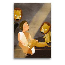 Premium Textil-Leinwand 50 x 75 cm Hoch-Format Daniel in der Löwengrube | Wandbild, HD-Bild auf Keilrahmen, Fertigbild auf hochwertigem Vlies, Leinwanddruck von Stephanie Langowski