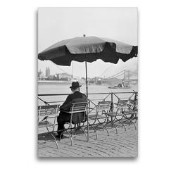 Premium Textil-Leinwand 50 x 75 cm Hoch-Format Ein Mann sitzt am Altstadtufer in Köln,1930er Jahre   Wandbild, HD-Bild auf Keilrahmen, Fertigbild auf hochwertigem Vlies, Leinwanddruck von United Archives / Karl Heinrich Lämmel