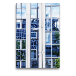 Premium Textil-Leinwand 50 x 75 cm Hoch-Format Frankfurts Architekturen – Spiegelbilder der Bürostadt Niederrad | Wandbild, HD-Bild auf Keilrahmen, Fertigbild auf hochwertigem Vlies, Leinwanddruck von N N