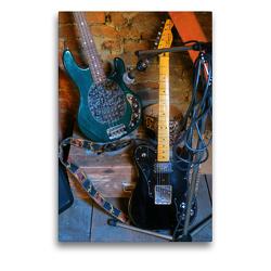 Premium Textil-Leinwand 50 x 75 cm Hoch-Format Gitarren im Backstagebereich | Wandbild, HD-Bild auf Keilrahmen, Fertigbild auf hochwertigem Vlies, Leinwanddruck von Renate Bleicher