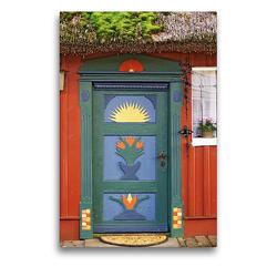 Premium Textil-Leinwand 50 x 75 cm Hoch-Format Haustür in Prerow | Wandbild, HD-Bild auf Keilrahmen, Fertigbild auf hochwertigem Vlies, Leinwanddruck von Veronika Rix