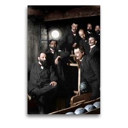 Premium Textil-Leinwand 50 x 75 cm Hoch-Format Herren beim Kegelabend um 1895 | Wandbild, HD-Bild auf Keilrahmen, Fertigbild auf hochwertigem Vlies, Leinwanddruck von André Tetsch