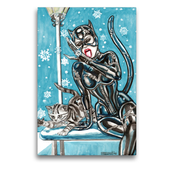 Premium Textil-Leinwand 50 x 75 cm Hoch-Format Katzen im Schnee. Catwoman in snow. The most wanted girls! | Wandbild, HD-Bild auf Keilrahmen, Fertigbild auf hochwertigem Vlies, Leinwanddruck von Sara Horwath Burlesqe up your wall