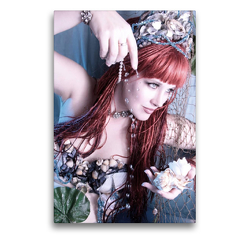 Premium Textil-Leinwand 50 x 75 cm Hoch-Format Meerjungfrau mit Wasserperlen   Wandbild, HD-Bild auf Keilrahmen, Fertigbild auf hochwertigem Vlies, Leinwanddruck von Stefan Weis