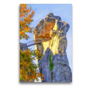 Premium Textil-Leinwand 50 x 75 cm Hoch-Format Mysteriöser Charme vom 40Meter hohen Sandsteinfelsen , Externsteine | Wandbild, HD-Bild auf Keilrahmen, Fertigbild auf hochwertigem Vlies, Leinwanddruck von Bettina Hackstein