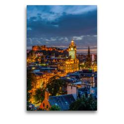 Premium Textil-Leinwand 50 x 75 cm Hoch-Format Nacht über Edinburgh | Wandbild, HD-Bild auf Keilrahmen, Fertigbild auf hochwertigem Vlies, Leinwanddruck von Christian Müller