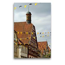 Premium Textil-Leinwand 50 x 75 cm Hoch-Format Rathaus Ebern | Wandbild, HD-Bild auf Keilrahmen, Fertigbild auf hochwertigem Vlies, Leinwanddruck von Andrea Meister