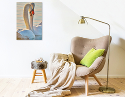 Premium Textil-Leinwand 50 x 75 cm Hoch-Format Schwäne, für immer vereint | Wandbild, HD-Bild auf Keilrahmen, Fertigbild auf hochwertigem Vlies, Leinwanddruck von Peter Roder