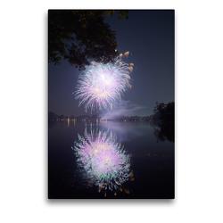 Premium Textil-Leinwand 50 x 75 cm Hoch-Format Strahlendes Feuerwerk mit Spiegelung | Wandbild, HD-Bild auf Keilrahmen, Fertigbild auf hochwertigem Vlies, Leinwanddruck von Frank Uffmann
