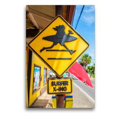 Premium Textil-Leinwand 50 x 75 cm Hoch-Format Straßenschild in Haleiwa | Wandbild, HD-Bild auf Keilrahmen, Fertigbild auf hochwertigem Vlies, Leinwanddruck von Christian Müller