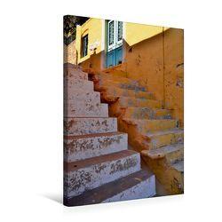 Premium Textil-Leinwand 50 x 75 cm Hoch-Format Treppen auf Rhodos | Wandbild, HD-Bild auf Keilrahmen, Fertigbild auf hochwertigem Vlies, Leinwanddruck von Ingo Laue von Laue,  Ingo