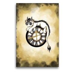 Premium Textil-Leinwand 50 x 75 cm Hoch-Format Zeitdrache | Wandbild, HD-Bild auf Keilrahmen, Fertigbild auf hochwertigem Vlies, Leinwanddruck von Pezi Creation / Petra Haberhauer