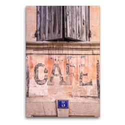 Premium Textil-Leinwand 60 x 90 cm Hoch-Format Cafe im Dorf Bonnieux, Luberon, Provence, Frankreich   Wandbild, HD-Bild auf Keilrahmen, Fertigbild auf hochwertigem Vlies, Leinwanddruck von Christian Müringer