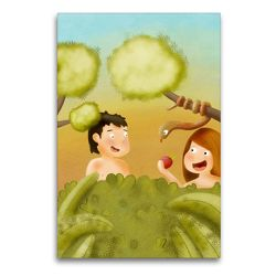 Premium Textil-Leinwand 60 x 90 cm Hoch-Format Adam und Eva im Garten Eden | Wandbild, HD-Bild auf Keilrahmen, Fertigbild auf hochwertigem Vlies, Leinwanddruck von Stephanie Langowski