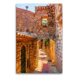 Premium Textil-Leinwand 60 x 90 cm Hoch-Format Altstadtgasse in Eze, Provence, Frankreich | Wandbild, HD-Bild auf Keilrahmen, Fertigbild auf hochwertigem Vlies, Leinwanddruck von Christian Müller