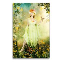 Premium Textil-Leinwand 60 x 90 cm Hoch-Format Blumenfrau | Wandbild, HD-Bild auf Keilrahmen, Fertigbild auf hochwertigem Vlies, Leinwanddruck von Ravienne Art