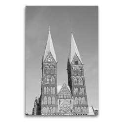 Premium Textil-Leinwand 60 x 90 cm Hoch-Format Bremer Dom | Wandbild, HD-Bild auf Keilrahmen, Fertigbild auf hochwertigem Vlies, Leinwanddruck von kattobello