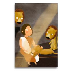 Premium Textil-Leinwand 60 x 90 cm Hoch-Format Daniel in der Löwengrube | Wandbild, HD-Bild auf Keilrahmen, Fertigbild auf hochwertigem Vlies, Leinwanddruck von Stephanie Langowski